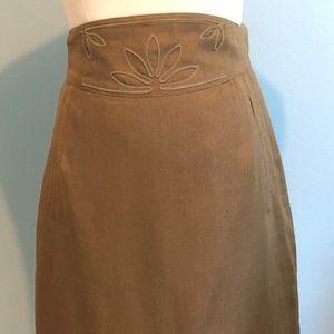 ESCADA Brown Linen Mid Waist Straight Pencil Skirt